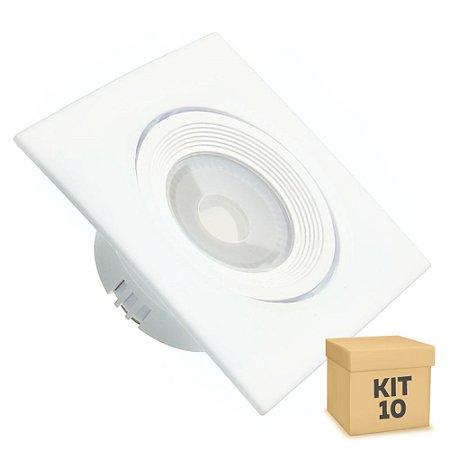 Kit 10 Spot LED SMD 3W Quadrado Branco Quente