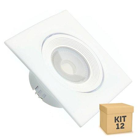 Kit 12 Spot LED SMD 3W Quadrado Branco Quente