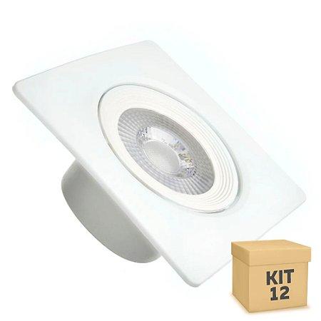Kit 12 Spot LED SMD 5W Quadrado Branco Quente