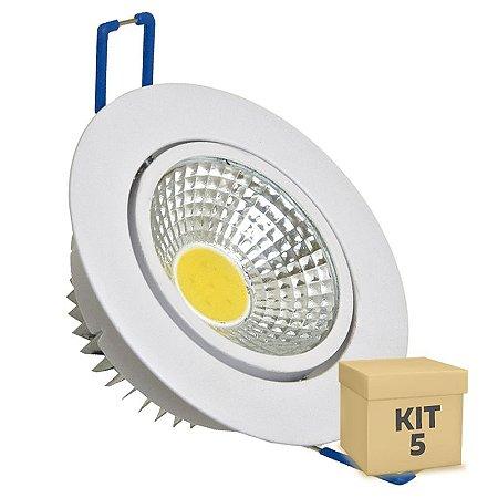 Kit 5 Spot LED 3W COB Embutir Redondo Branco Frio Base Branca