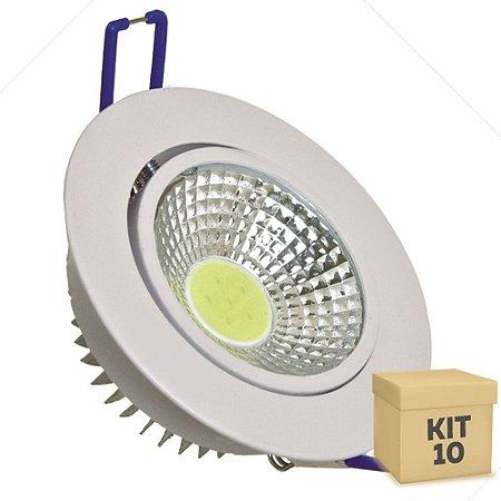 Kit 10 Spot LED 3W COB Embutir Redondo Branco Frio Base Branca