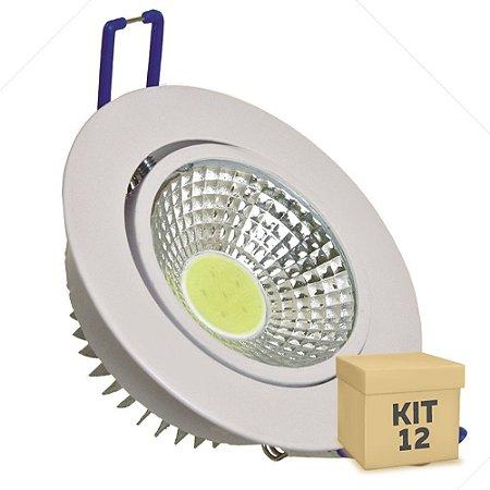 Kit 12 Spot LED 3W COB Embutir Redondo Branco Frio Base Branca