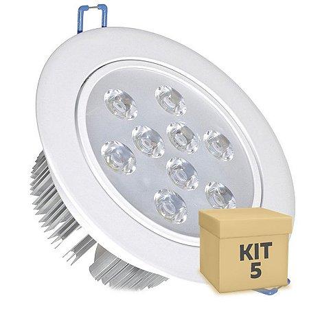 Kit 5 Spot Dicróica 9w LED Direcionável Corpo Branco