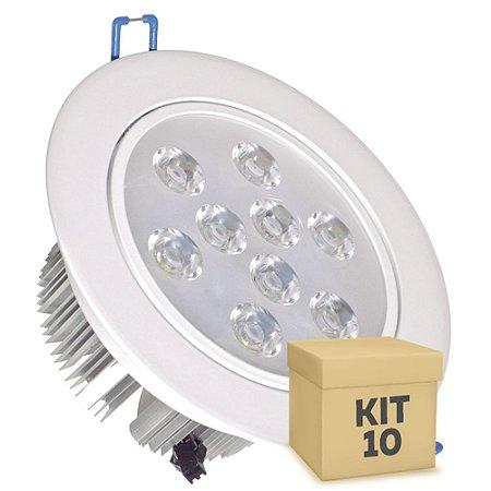 Kit 10 Spot Dicróica 9w LED Direcionável Corpo Branco