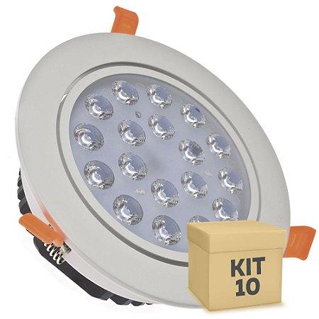 Kit 10 Spot Dicróica 18w LED Direcionável Corpo Branco