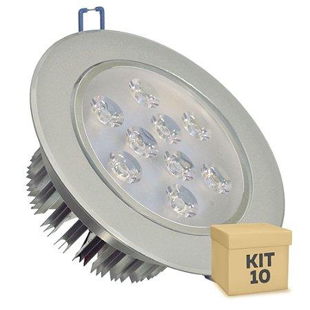 Kit 10 Spot Dicróica 9w LED Direcionável Corpo Aluminio