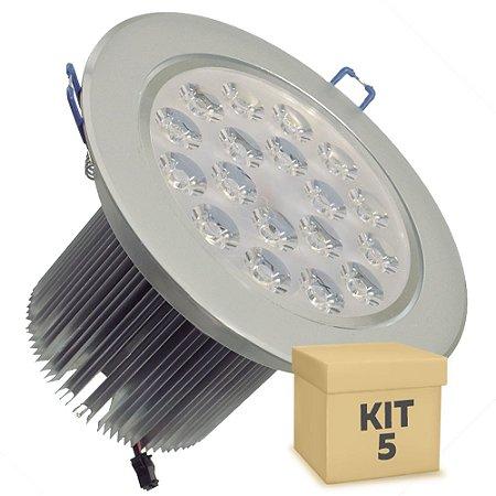 Kit 5 Spot Dicróica 18w LED Direcionável Corpo Aluminio