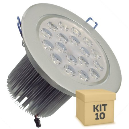 Kit 10 Spot Dicróica 18w LED Direcionável Corpo Aluminio
