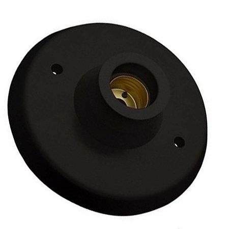 Plafon Plafonier com Soquete E27 para Lâmpada LED Preto - Inmetro