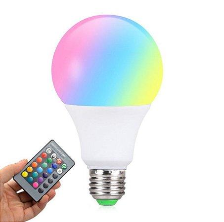Lâmpada LED Bulbo 8W RGB Com Controle   Inmetro