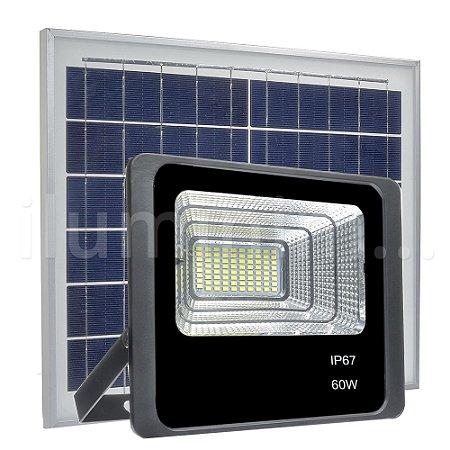 Refletor LED Solar 60w 80 Leds Auto Recarregável