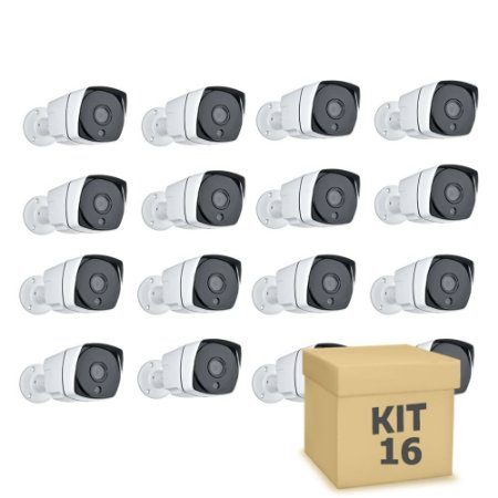 Kit 16 Câmera Segurança de LED IP Bullet Infravermelho PoE