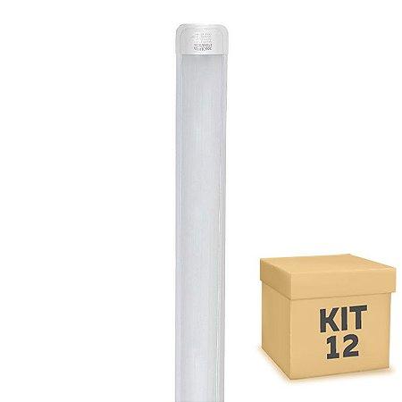 Kit 12 Tubular LED Sobrepor Completa 20W 60cm Branco Frio | Inmetro