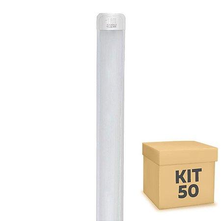 Kit 50 Tubular LED Sobrepor Completa 75W 2,40m Branco Frio   Inmetro