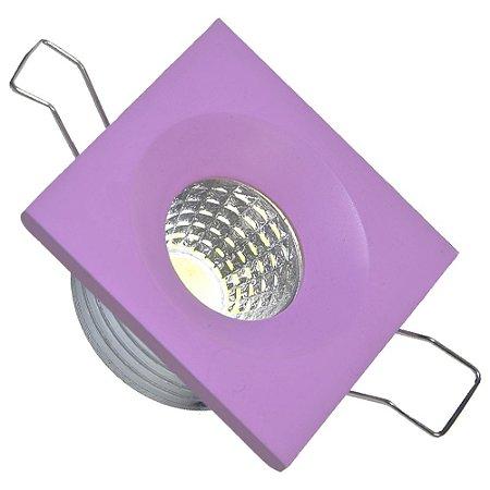Mini Spot LED COB 3W Embutir Quadrado Rosa