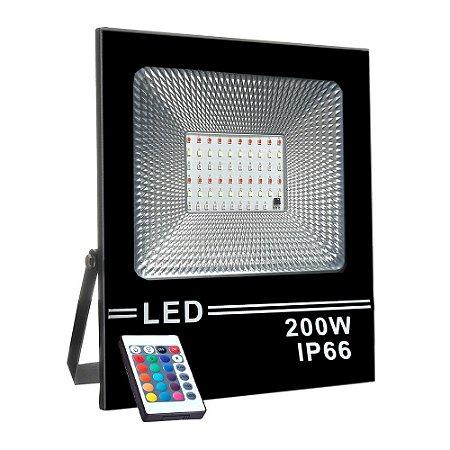 Refletor Holofote MicroLED Slim 200W RGB Colorido com Controle