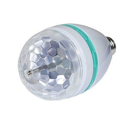 Lampada LED Giratória para Festa 3w RGB Bivolt