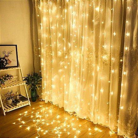 Cortina de LED 300 LEDs Cascata Branco Quente 110V