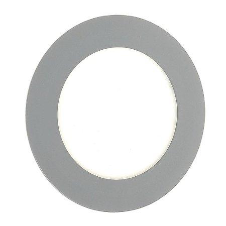 Luminária Plafon LED 6W Embutir Branco Frio Cinza