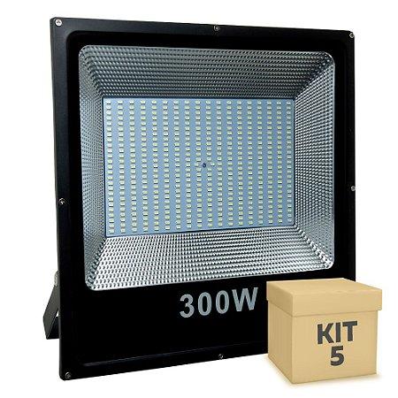 Kit 5 Refletor Holofote MicroLED Slim 300W Branco Frio