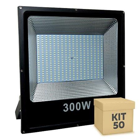 Kit 50 Refletor Holofote MicroLED Slim 300W Branco Frio