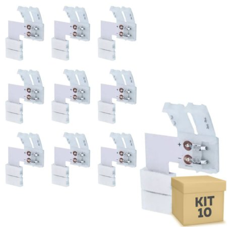 Kit 10 Emenda para Fita LED 3528 1 Cor em L - 8mm