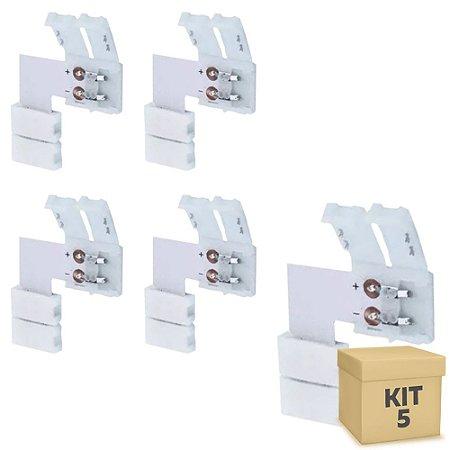Kit 5 Emenda para Fita LED 5050 1 Cor em L - 10mm
