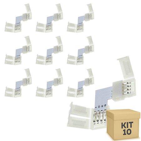 Kit 10 Emenda para Fita LED 5050 RGB em L - 10mm