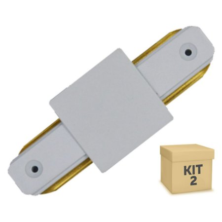 Kit 2 Conector Emenda tipo Reto para Trilho Eletrificado LED Cor Branca