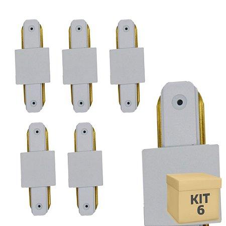 Kit 6 Conector Emenda tipo Reto para Trilho Eletrificado LED Cor Branca