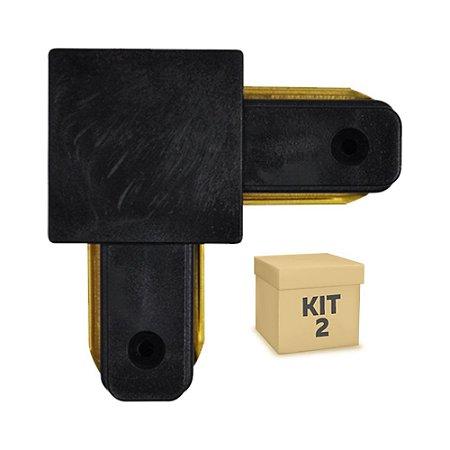 Kit 2 Conector Emenda tipo L para Trilho Eletrificado LED Cor Preta