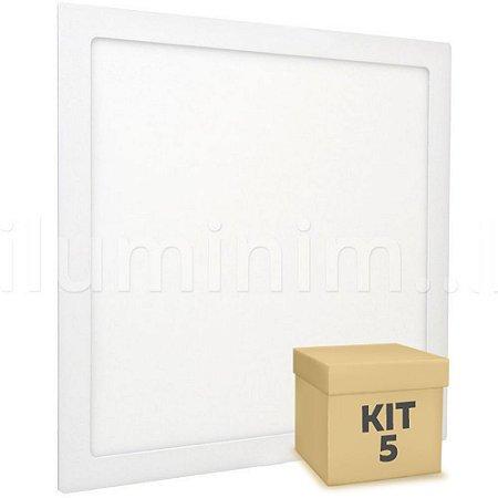 Kit 5 Luminária Plafon 30x30 32W LED Embutir Branco Frio