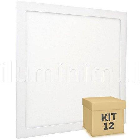 Kit 12 Luminária Plafon 30x30 32W LED Embutir Branco Frio