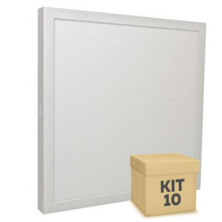 Kit 10 Luminária Plafon 30x30 32W LED Sobrepor Branco Frio