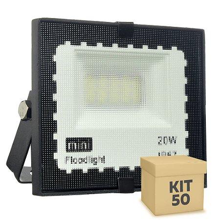 Kit 50 Mini Refletor Holofote LED SMD 20W Branco Frio IP67
