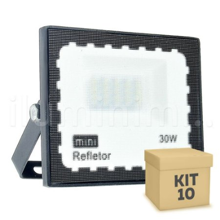 Kit 10 Mini Refletor Holofote LED SMD 30W Branco Frio IP67