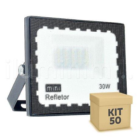 Kit 50 Mini Refletor Holofote LED SMD 30W Branco Frio IP67