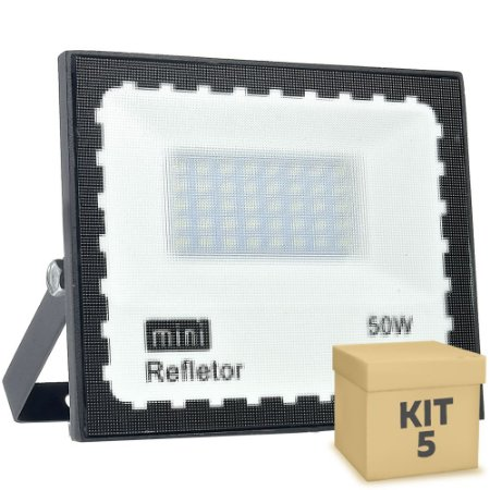 Kit 5 Mini Refletor Holofote LED SMD 50W Branco Frio IP67