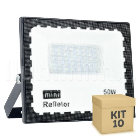 Kit 10 Mini Refletor Holofote LED SMD 50W Branco Frio IP67