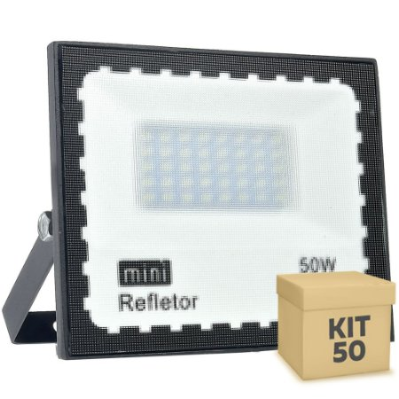 Kit 50 Mini Refletor Holofote LED SMD 50W Branco Frio IP67