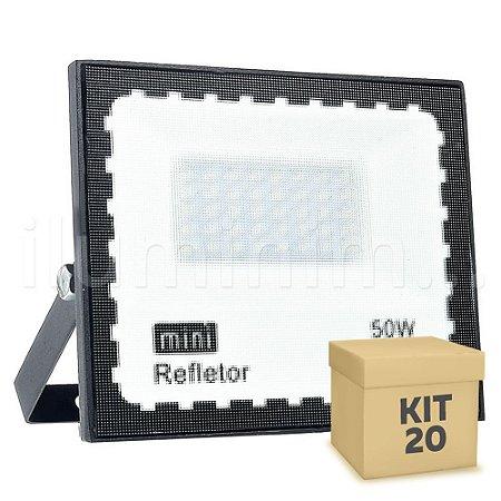 Kit 20 Mini Refletor Holofote LED SMD 50W Branco Frio IP67