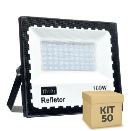 KIT 50 Mini Refletor Holofote LED SMD 100W Branco Frio IP67