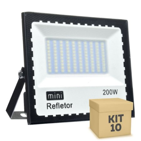 Kit 10 Mini Refletor Holofote LED SMD 200W Branco Frio IP67