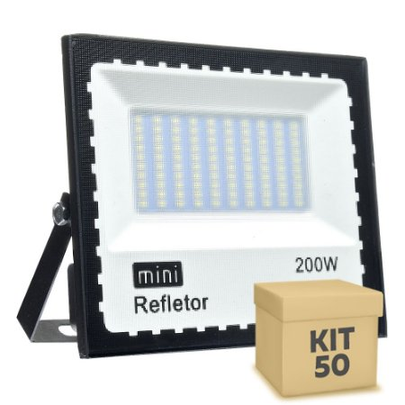 Kit 50 Mini Refletor Holofote LED SMD 200W Branco Frio IP67