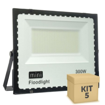 Kit 5 Mini Refletor Holofote LED SMD 300W Branco Frio IP67