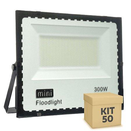 Kit 50 Mini Refletor Holofote LED SMD 300W Branco Frio IP67