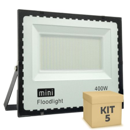 Kit 5 Mini Refletor Holofote LED SMD 400W Branco Frio IP67