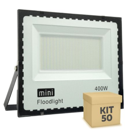 Kit 50 Mini Refletor Holofote LED SMD 400W Branco Frio IP67