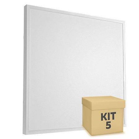 Kit 5 Luminária Plafon 60x60 48W LED Sobrepor Branco Frio Borda Branca