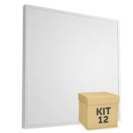 Kit 12 Luminária Plafon 60x60 48W LED Sobrepor Branco Frio Borda Branca